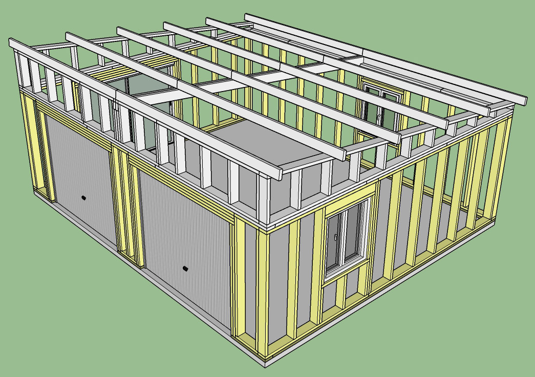 Construction d'un garage double en ossature bois Garage_4