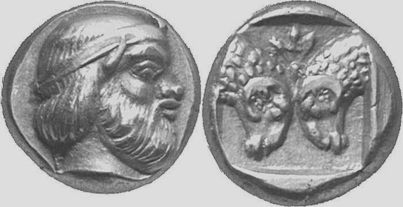 study of Black Mediterranean History, via Coin and Pottery Mytilene_Silenos_rams