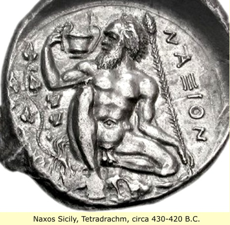 study of Black Mediterranean History, via Coin and Pottery Naxos_coin