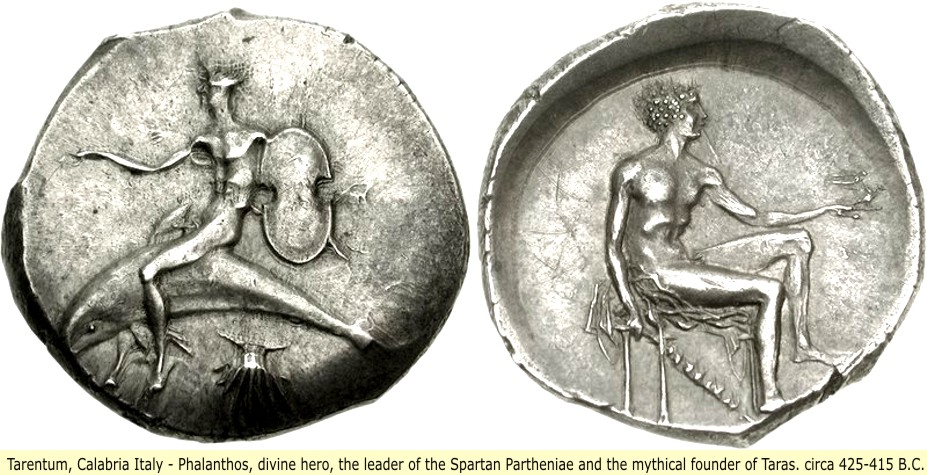study of Black Mediterranean History, via Coin and Pottery Phalanthos_coin_1