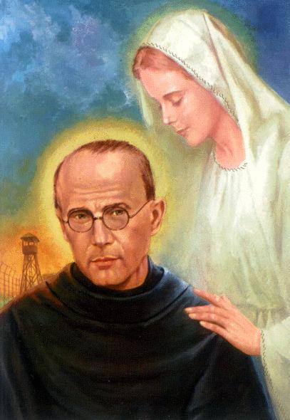 Retour je prépare mon coeur pour la prière/en écoutant un chant religieux Marie-est-apparue-a-st-maximilien-marie-kolbe-lui-offrant-2-couronnes-une-blanche-et-une-rouge