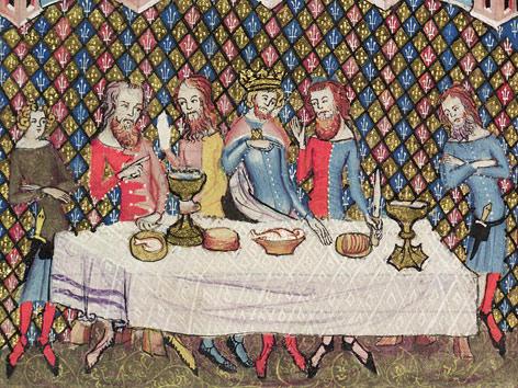 unas copas de madera Cena-medieval