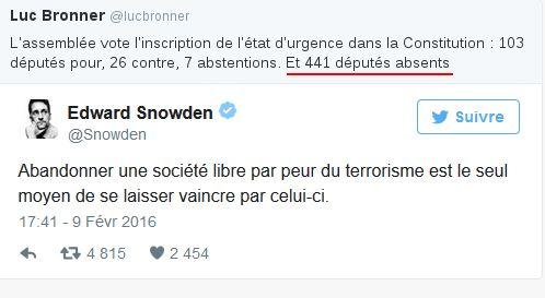 Chute des libertés: Edward Snowden adresse un message à la France en français 20160210-Tweet-Snowden