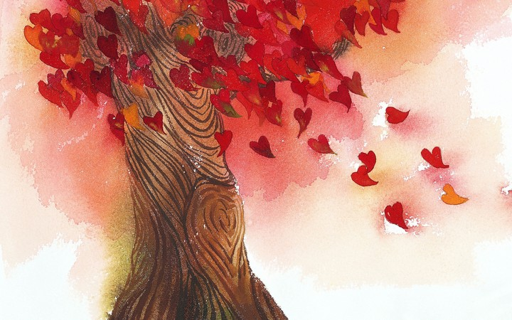 Art - Page 12 Love-heart-leaves-tree-art-design-painting-background