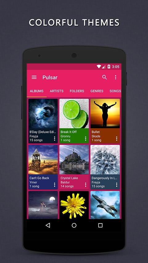 Aplikace Pulsar Music Player S6