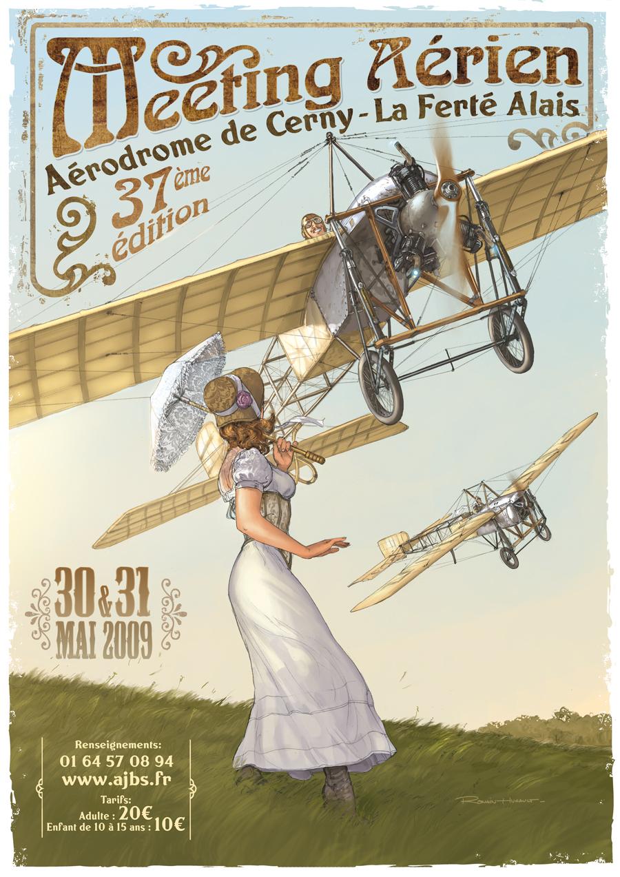 R.HUGAULT : ses affiches des meeting aériens de la Ferté-Allais Webferte09