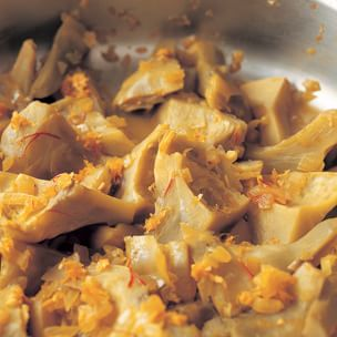 Artichoke Ragout with Garlic, Saffron and Orange Zest Img66l