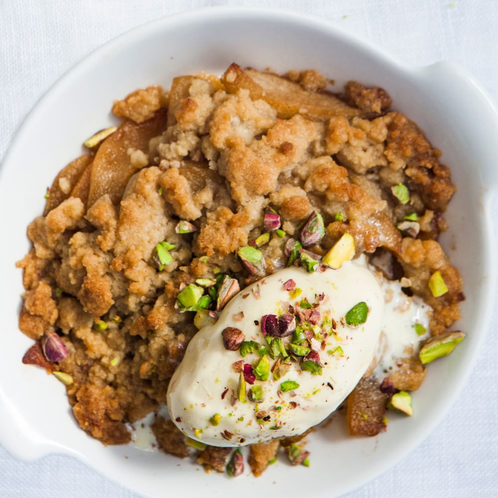 Pear Crostata with Spiced Caramel and Candied Pistachios Img45l