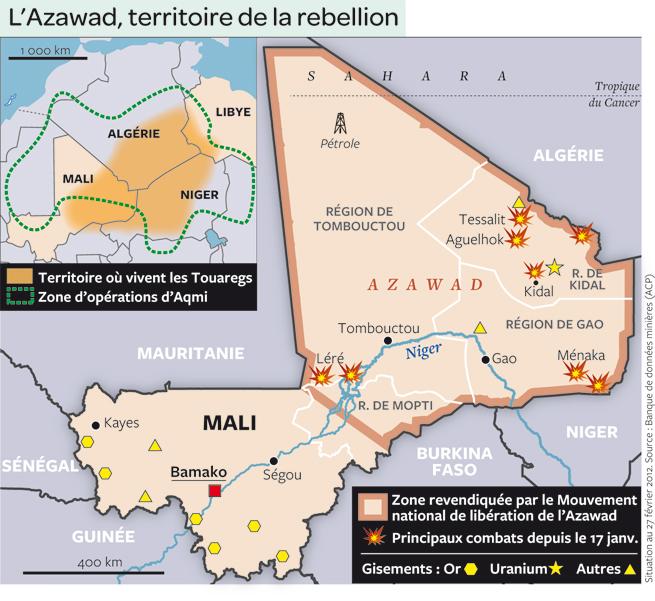 L'intervention militaire française au Mali vise-t-elle à assurer les intérêts d'Areva ? - Page 2 Carte-du-mali-en-guerre