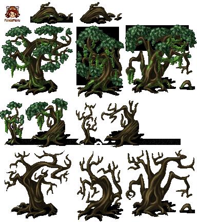 Recursos gráficos (Tilesets) PandaMaru_MV_swamptrees