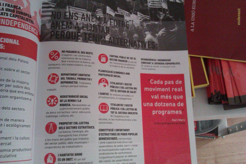 """""""Cada paso del movimiento real vale más que una docena de programas"""" - ejemplo de frase descontextualizada y eclecticismo atroz - publicado por RSA Madrid - noviembre de 2013 Endavant"""