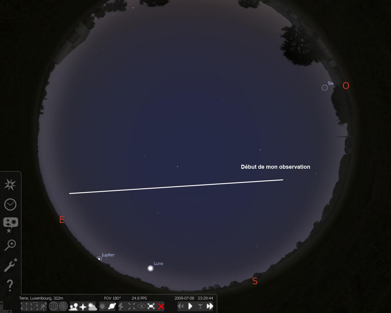(ISS) 08/07/2009 - Observation d'un objet Lumineux - Luxembourg Plan1