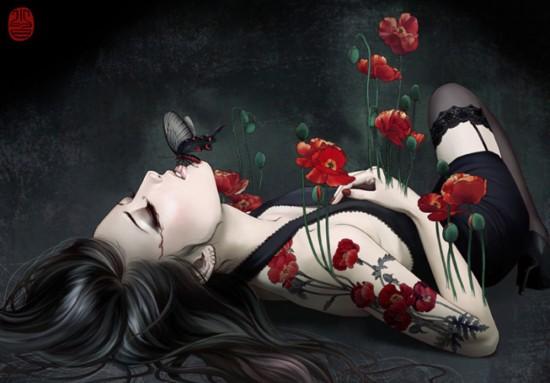 Leiran Karakterei Anime-roses-flowers-fantacy-vampire-my-flower-box-women-favorites-black-and-whites-dark-red-fantasia-loris-images-my-album-woman-kaira-erotisch-nice-beauty-general-_