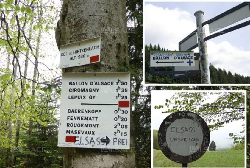 Des tags antisémites dans un haut lieu de la résistance française à Thann Les-panneaux-du-club-vosgien-tagues