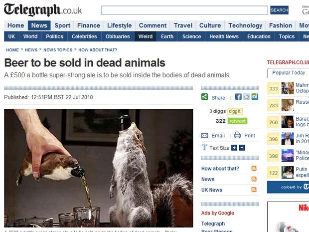 Escócia cria cerveja com 55% de álcool vendida dentro de animal morto Untitled-2