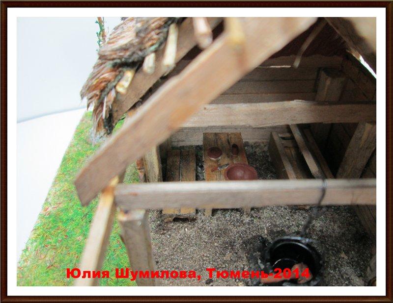 Реконструкция жилища викинга в разрезе с видом внутри, 10в., масштаб 1:100 74cb1c86eeac