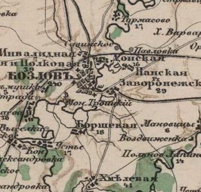 Козлов-Мичуринск на картах 9b428ce90ece