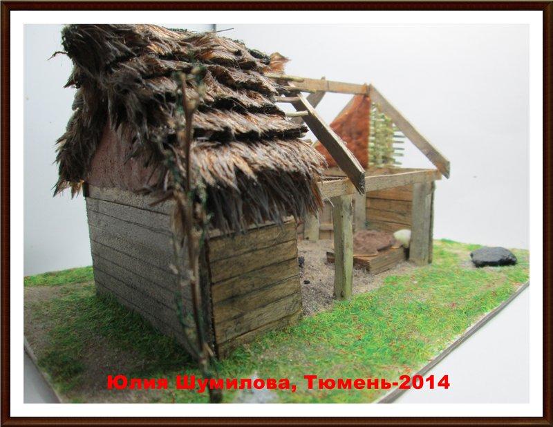 Реконструкция жилища викинга в разрезе с видом внутри, 10в., масштаб 1:100 383da8e6b848