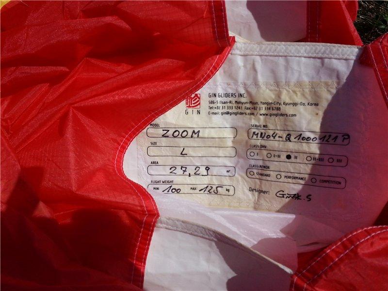 Параплан маршрутный ZOOM производитель GIN (KOREA) 2005г/в 0bb912bde183