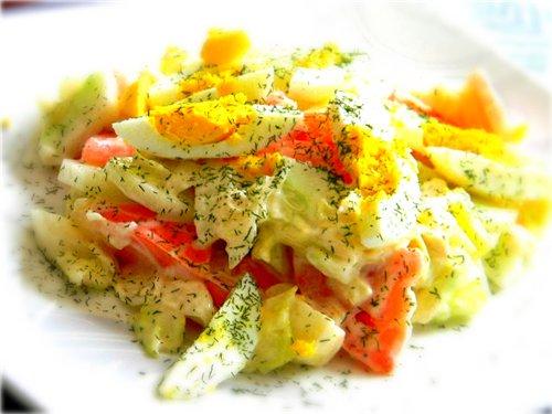 Сочный салат из свежих овощей с майонезом 050ceff43796