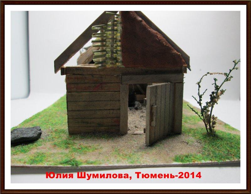 Реконструкция жилища викинга в разрезе с видом внутри, 10в., масштаб 1:100 63ef2cd9c776