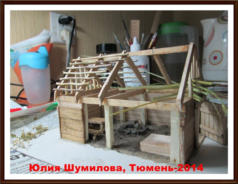 Реконструкция жилища викинга в разрезе с видом внутри, 10в., масштаб 1:100 1c13db44a5c7