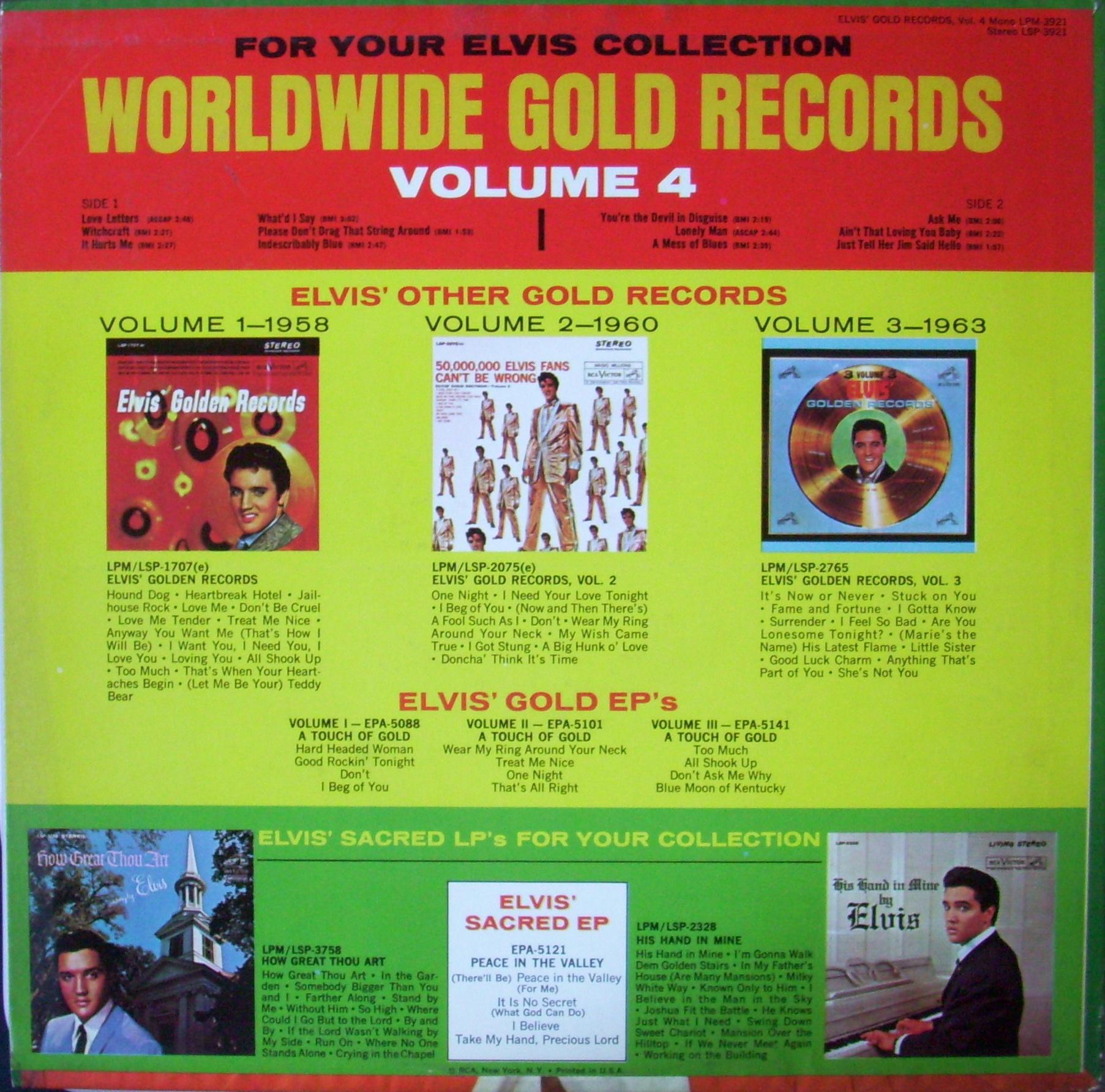 ELVIS' GOLD RECORDS VOL 4 Yj669p8n