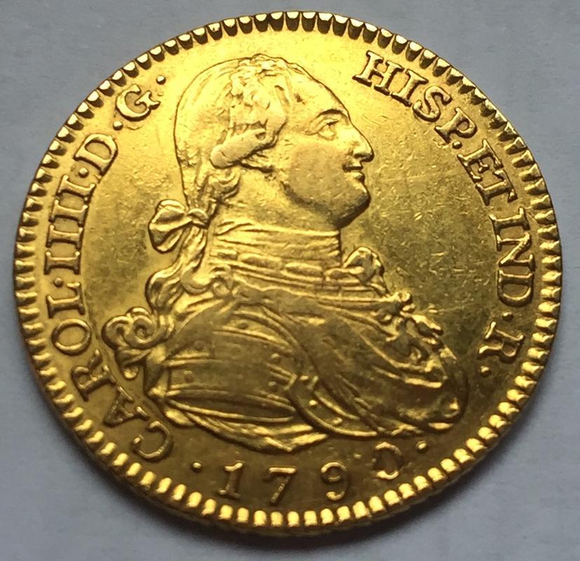 """2 escudos 1790 Carlos IIII Madrid dedit """"a los que me enseñaron todo lo que se"""" gracias  IMG_8273"""
