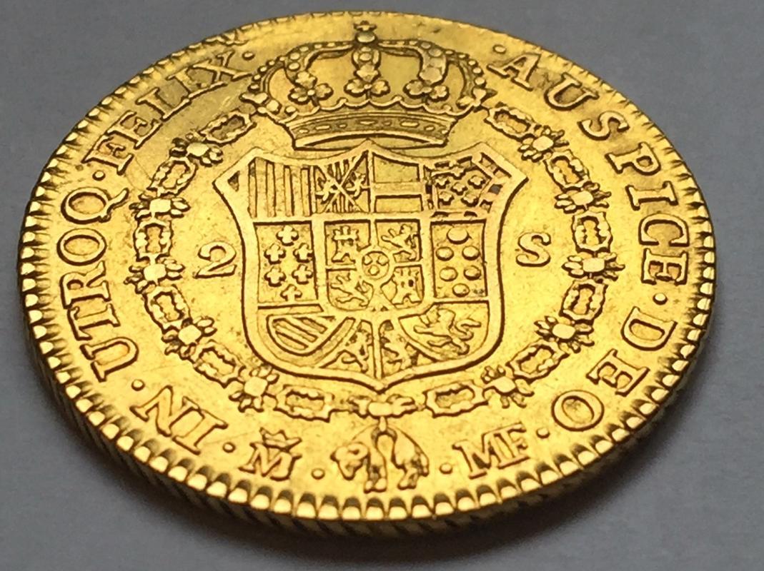 """2 escudos 1790 Carlos IIII Madrid dedit """"a los que me enseñaron todo lo que se"""" gracias  IMG_8266"""