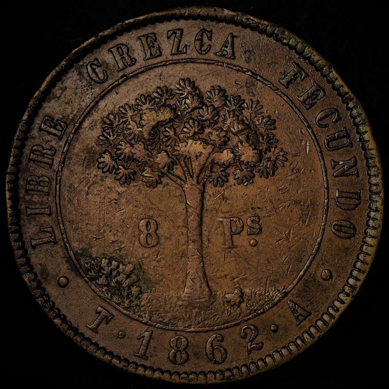 Honduras,moneda provisional de 8 pesos,1862. 1-2