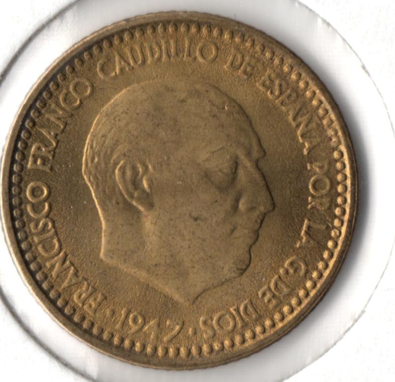 1 peseta 1947 (*19-48). Estado Español 1947_anv