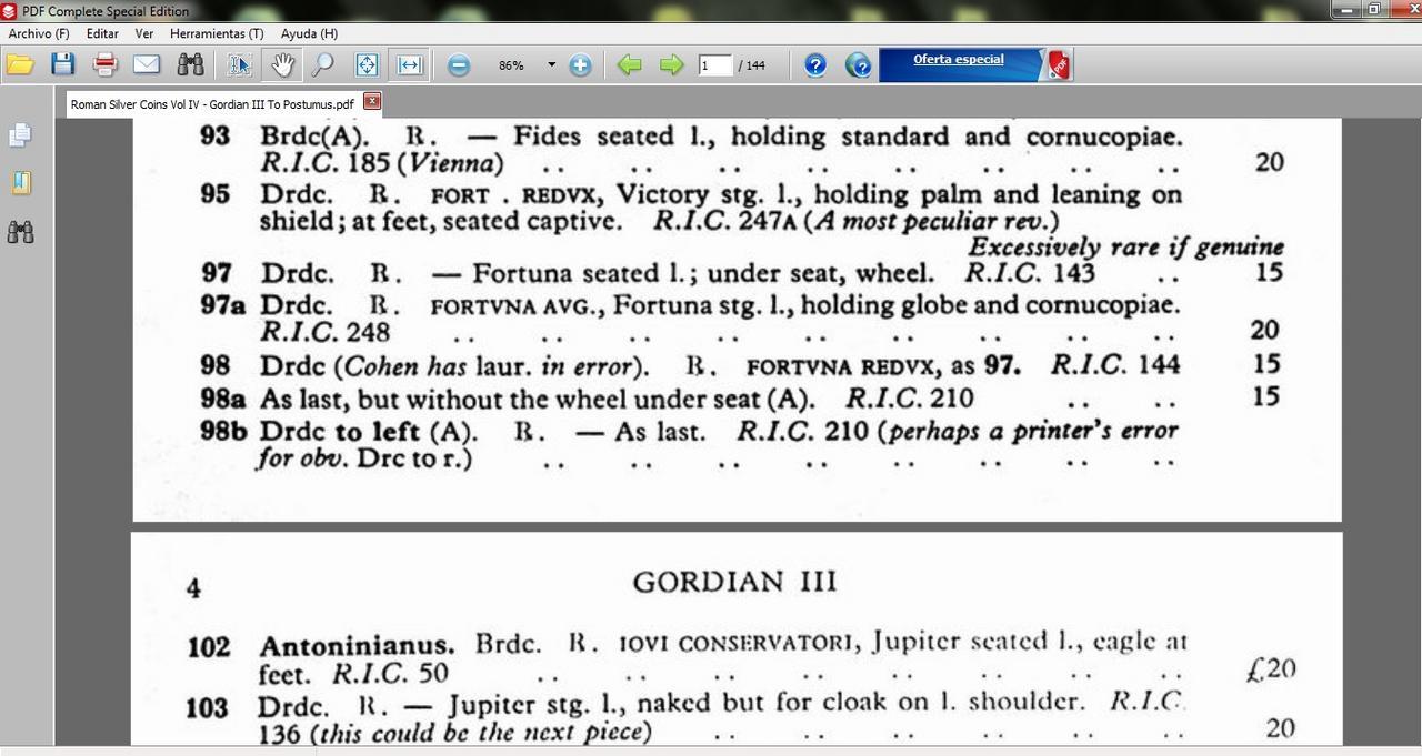 Antoniniano de Gordiano III. FORTVNA REDVX. Antioquía  Image