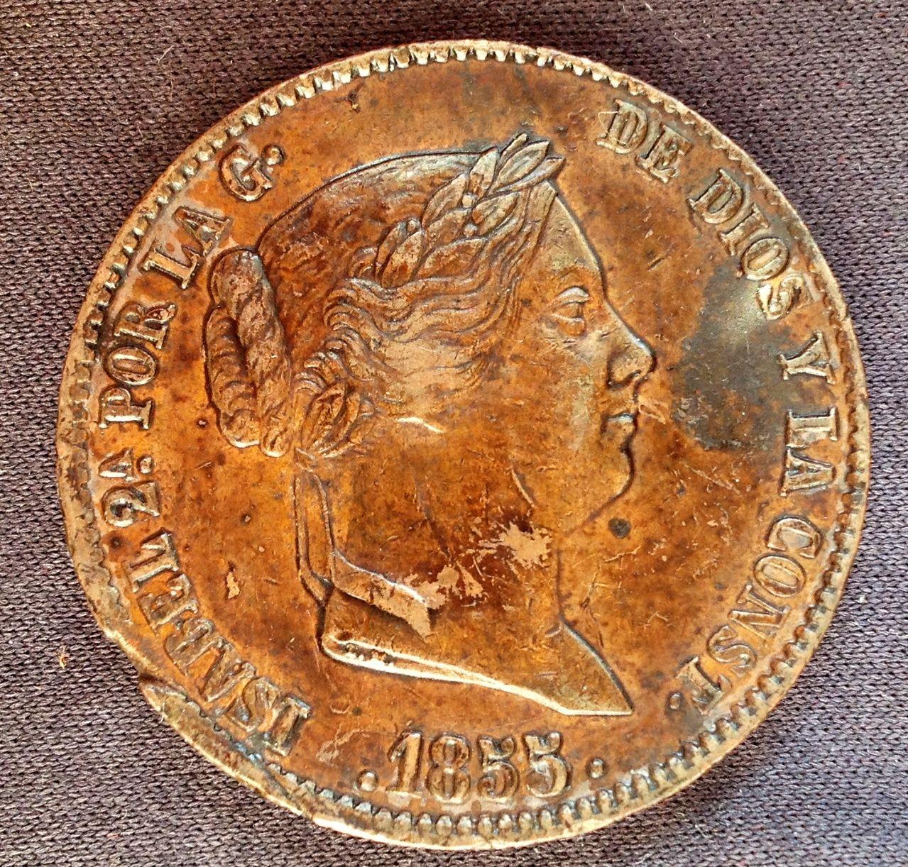 25 céntimos de real- un cuartillo 1855 Isabel II ¿error? IMG_4198