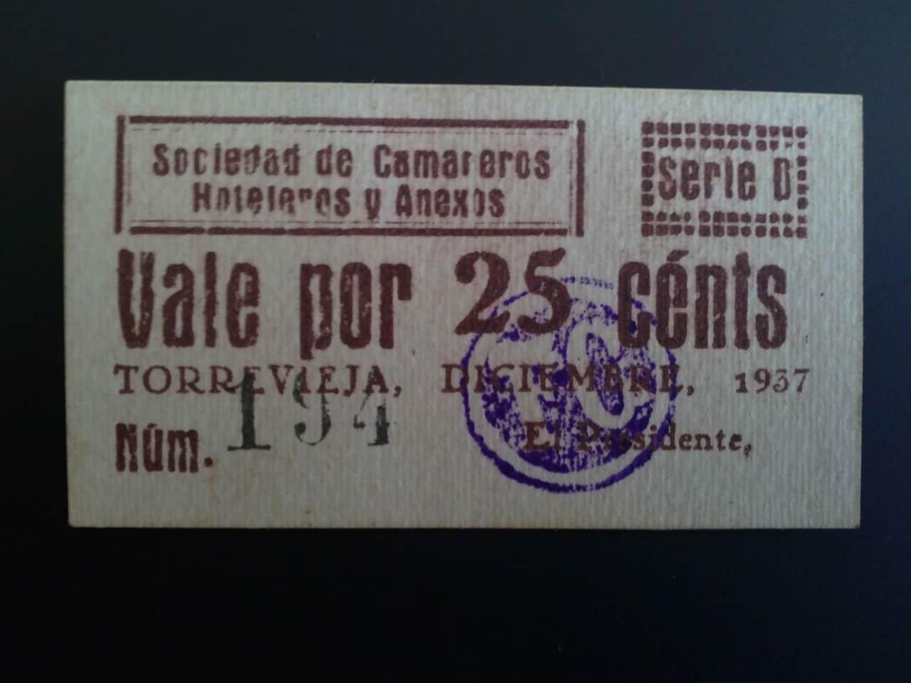 25 Céntimos Torrevieja (Alicante) Diciembre 1937 01022013025