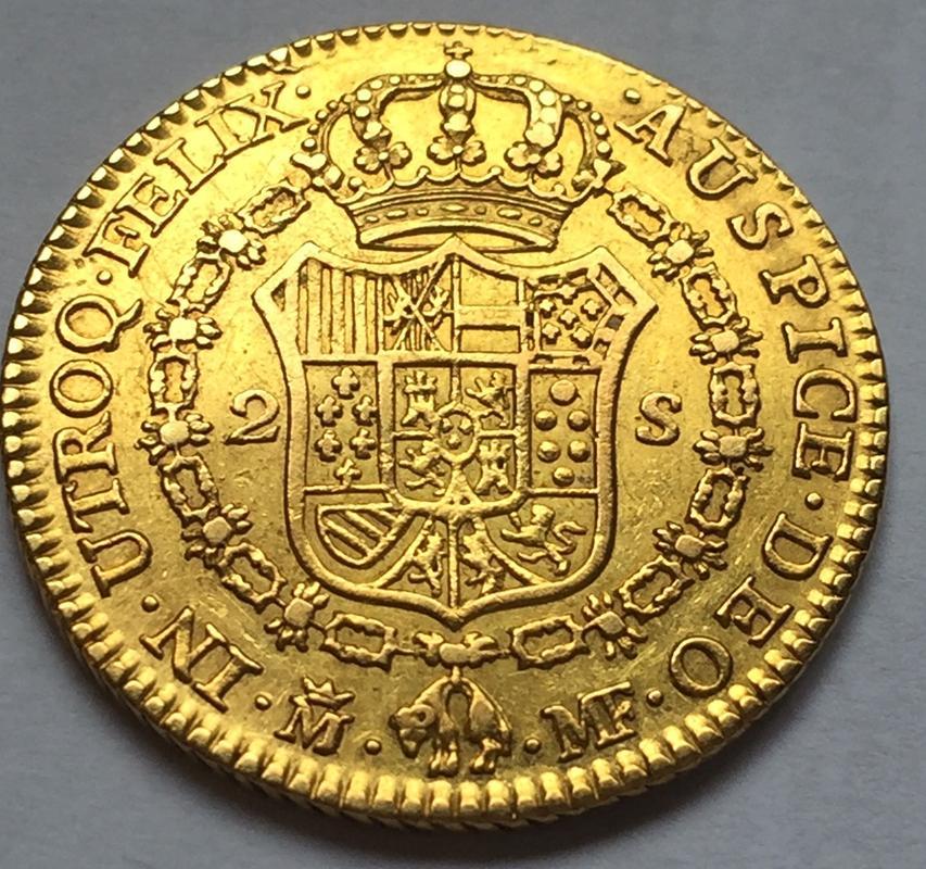 """2 escudos 1790 Carlos IIII Madrid dedit """"a los que me enseñaron todo lo que se"""" gracias  IMG_8268"""