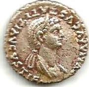 Reprodución denario de Julia Titi. Pudicitia_a