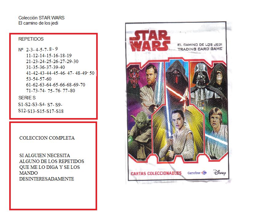 Cartas Star Wars Carrefour  º2 0-_COLECCION_STAR_WARS_-_FALTAS_Y_REPETIDOS_n_1