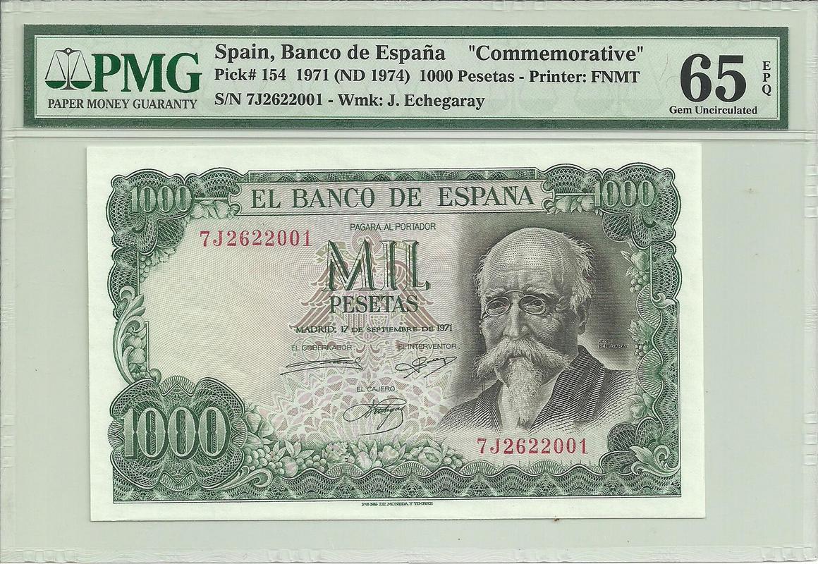 1000 pesetas 1971 serie 7J (última emitida) 1000_1971_7_J