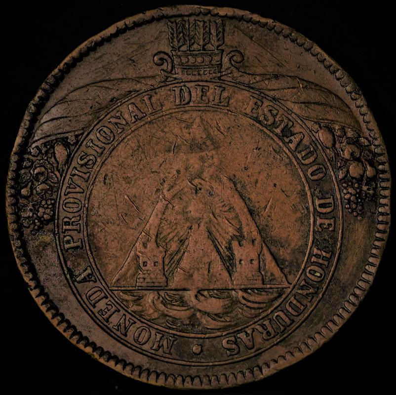Honduras,moneda provisional de 8 pesos,1862. 1-1