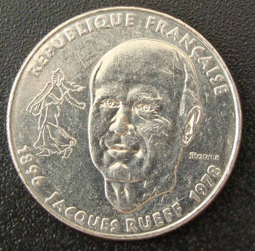 1 Franco. Francia (1996) Jacques Rueff FRA._1_Franco_Jacques_Rueff_-_anv