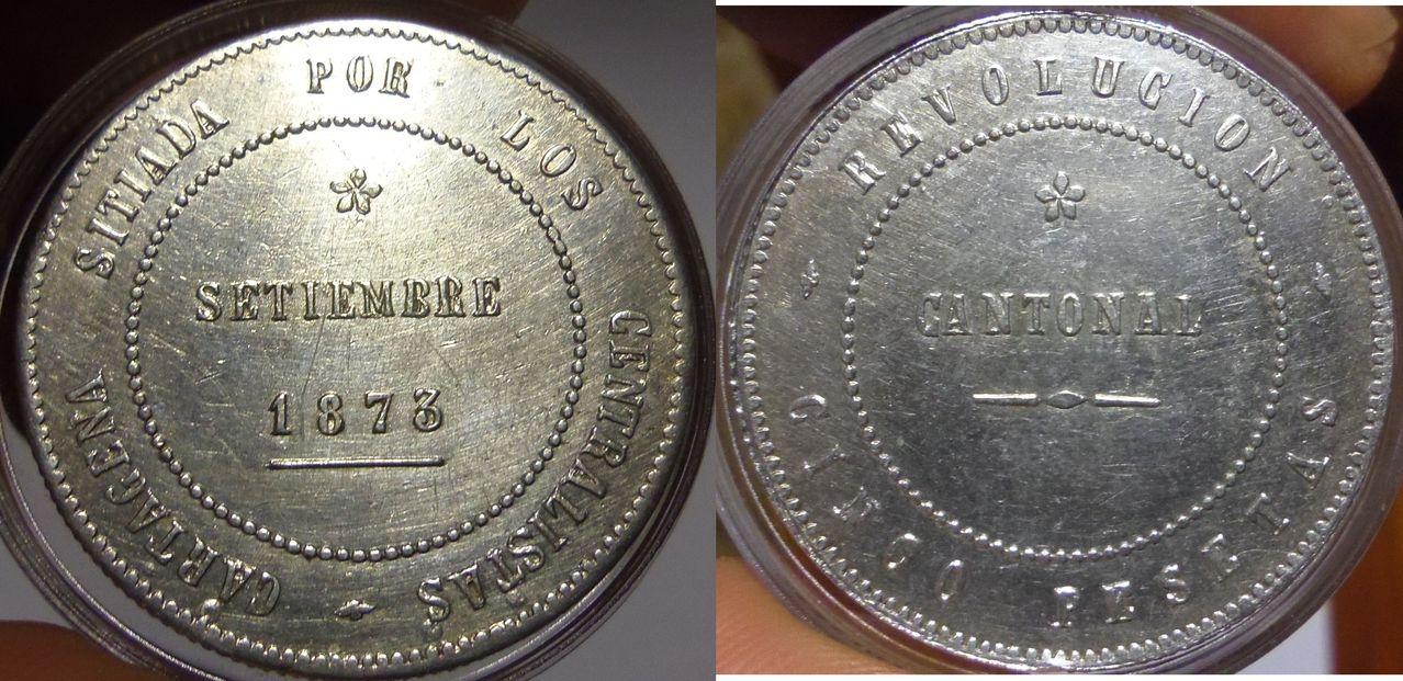5 Pesetas. Revolución Cantonal. Cartagena. 1873. No coincidente. IMGP3579
