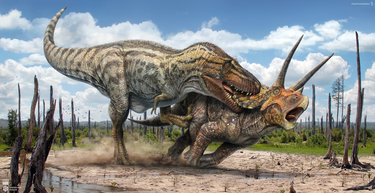 Awesome Paleoart  T_rex_vs_triceratops_by_swordlord3d-d9bd8h3