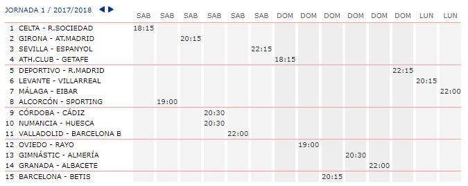 LA QUINIELA DE ZONAMALAGUISTA. J1ª (19-20-21 Agosto) JQ_Horarios