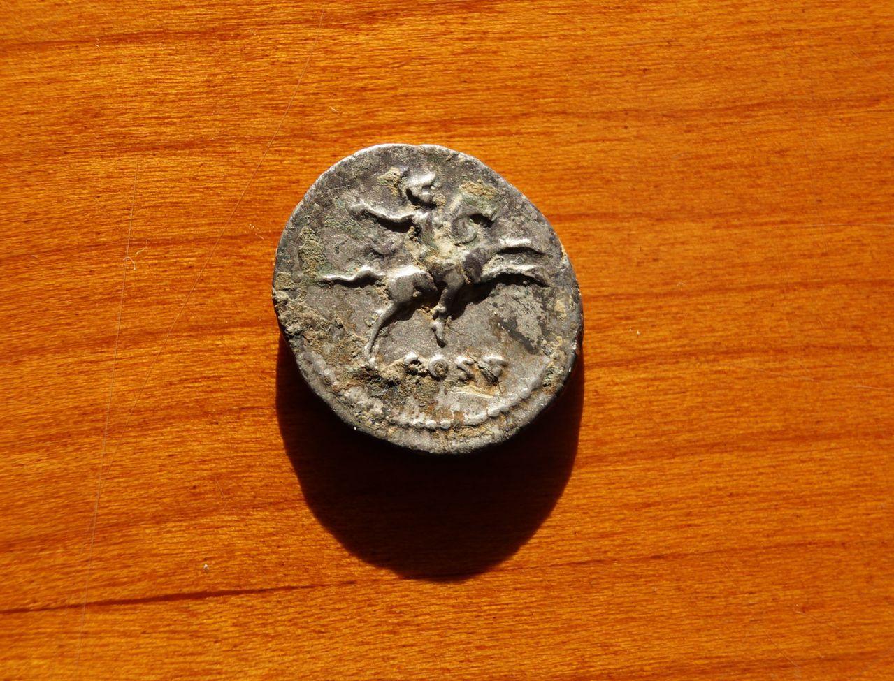 Denario de Domiciano. COS V. Jinete. Ceca Roma. DSC01392