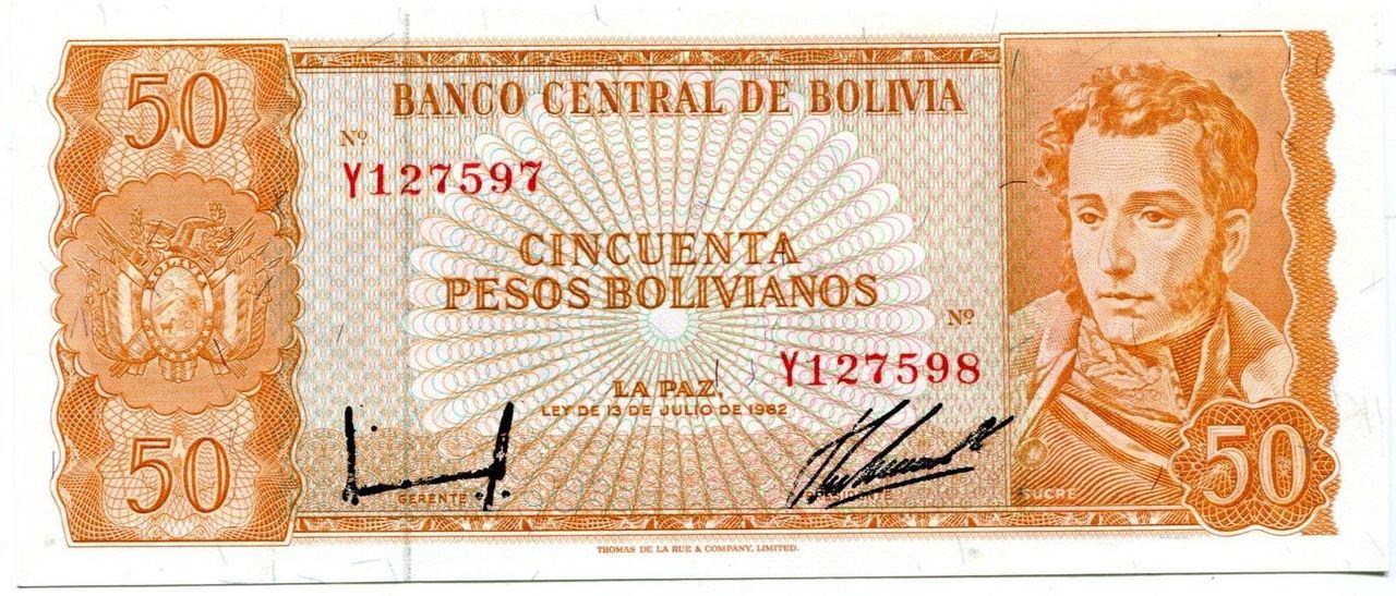 10 Pesos Bolívia, 1962 (Doble firma - Error) Image