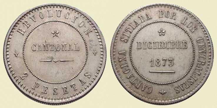 La progesion de la peseta y su decadencia. 1873_2ptas_cartagena