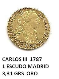 1 escudo de Carlos III año 1787 Image