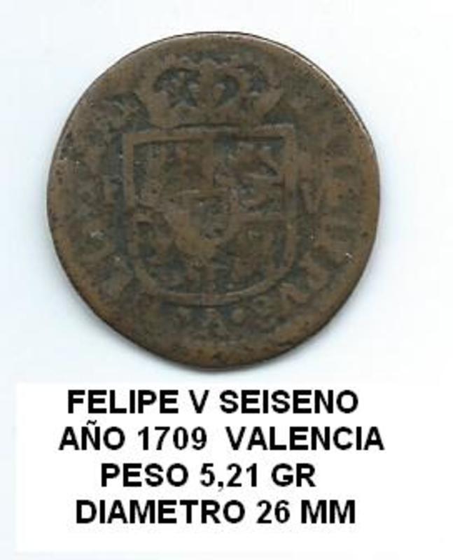 Seiseno de Felipe V, Valencia. 1709. Image
