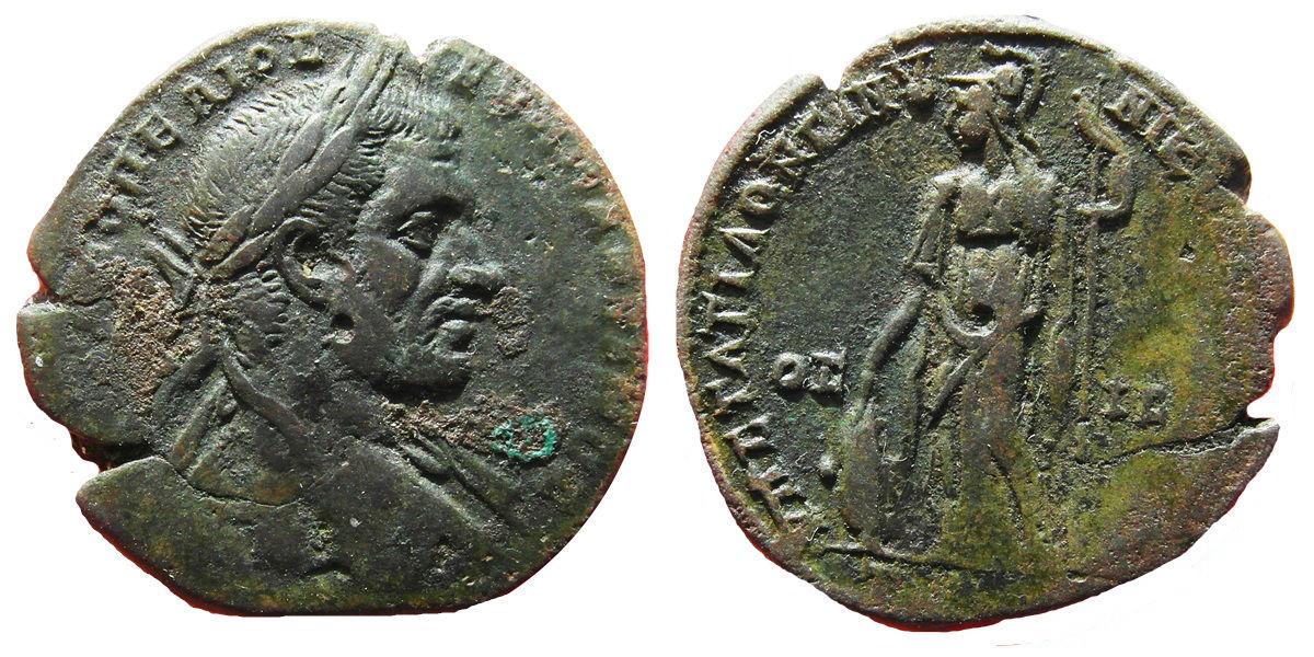AE26 de Macrino. Nikopolis ad Istrum. Atenea. Image
