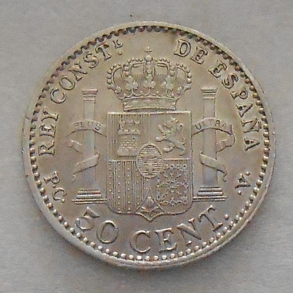 50 centimos Alfonso XIII - 1910 50_cent_1910_rev